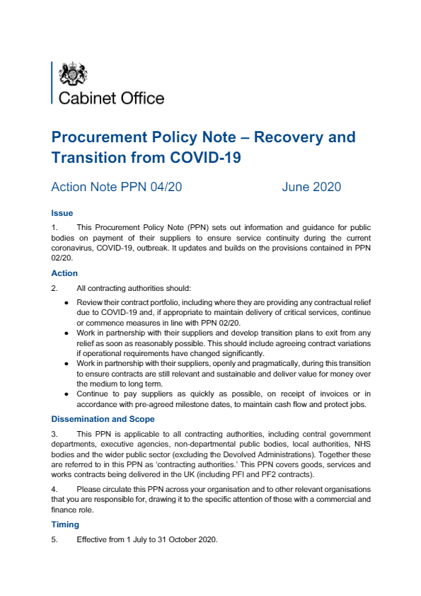 Procurement Policy Note - Recovery and Transition from Covid-19