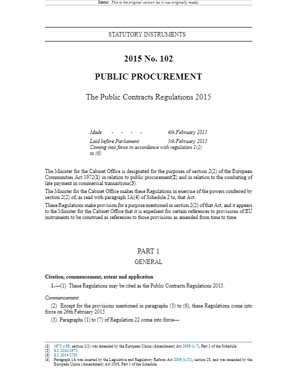 Public Procurement - The Public Contracts Regulations 2015