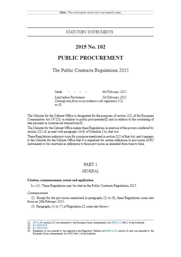 Public Procurement - The Public Contracts Regulations 2015