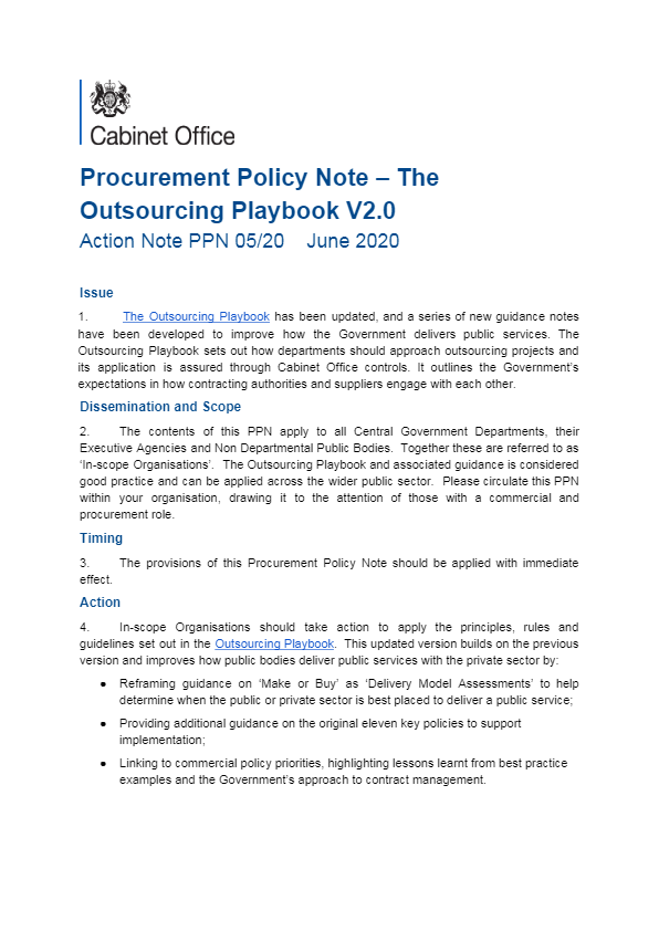 Procurement Policy Note - The Outsourcing Playbook